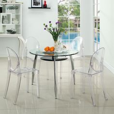 Here's our Clear Dining Room Chairs collection at http://jamarmy.com/clear-dining-room-chairs.html