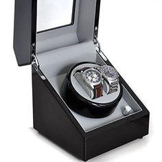 Klarstein carica orologi automatici (per 2 orologi, diverse modalità di movimento, vetrina trasparente, motore silenzioso, dimensioni ridotte, timer) - nero