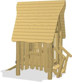 Elevated playhouse with classic roof. The house can be entered by the staircase or the angled ramp. The product is available in 3 versions: Unthreated Autocad, Play Houses, Playground, Flooring, 3d, Model, Cabins, Children Playground