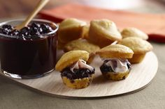 Make these sweet and savory bites for easy and tasty entertaining. Both the blueberry chutney and muffins can be prepared ahead of time then