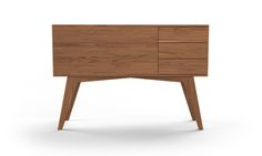 This stunning console with Mid-century style boasts a clean silhouette with plenty of storage space.