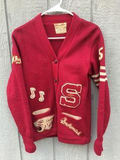 Women's VTG 1950's High School Wool Award Letterman Cardigan Sweater NAMED 1953 #LasleyKnittingCompany