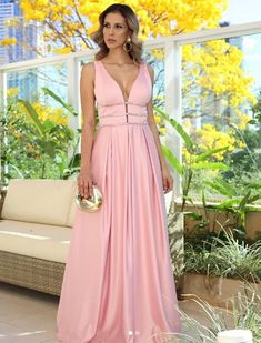Sexy Plunge V-Neck Long Prom Dresses Sleeveless Satin Prom Gowns For Party Evening on Luulla Pink Prom Dresses, Quinceanera Dresses, Pink Dress, Wedding Dresses, Party Gowns, Party Dress, Looks Party, Sweet Dress, Ball Gowns