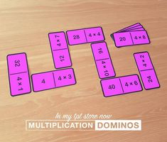 These multiplication fact dominos are still one of my favourite resources. So simple, yet so effective! I've got sets for all the times tables as well as the inverse division facts. #math #timestables #multiplication