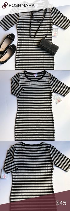 Lularoe Gray and Black Stripe Julia Dress - Small New with tags.  Lularoe Julia Dress - Size Small.  Black and Gray stripe. LuLaRoe Dresses