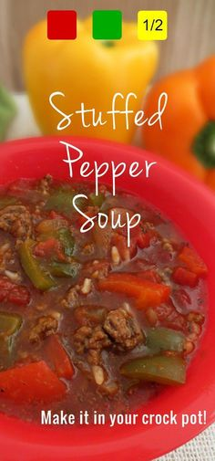 This stuffed pepper soup in the crockpot is so easy, and really delicious. I've been known to add some ground Italian sausage to it. It's also great for the 21 Day Fix (when you don't add sausage)! Container counts included.