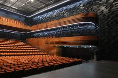 Wuxi Grand Theatre - Remix is used for the seating for both auditoriums. In total, 1725 metres were used for the Main Theatre Auditorium and 920 metres were used for the Comprehensive Performance Hall. Auditorium Plan, Wuxi, Architecture Plan, Concert Hall, Opera House, Art Centers, Theatres, Performing Arts, Building
