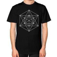 Sacred geometry Minimal Hipster Line Art Unisex T-Shirt (on man)