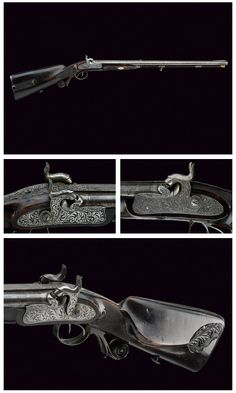"An engraved double barrel percussion rifle signed ""Greis from Munich"", mid 19th century Germany."