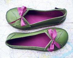 CUSTOM Leather Handmade bohemian fairytale shoes in 7 sizes, 12 colours, FLUTTERBY by Fairysteps. £134.00, via Etsy.