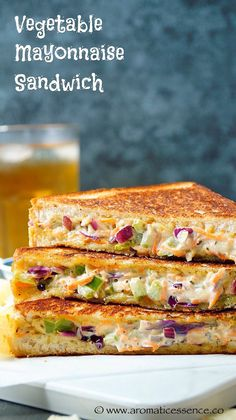 Step by step pictorial recipe to make vegetable mayonnaise sandwiches. How to make vegetable mayonnaise sandwich. Sandwich Vegan, Grilled Sandwich Recipe, Roast Beef Sandwich, Sandwich Bar, Healthy Sandwiches, Toast Sandwich, Tea Sandwiches, Quick Sandwich, Vegetable Sandwich Recipes