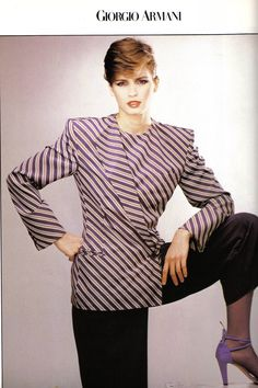 Gia Carangie in Armani ads from Vogue Italia, March 1980
