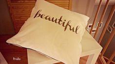 """Kissen """"beautiful"""" mit Lavendeldruck"""