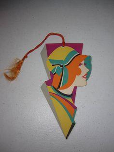 1920's-30's unused die cut extreme art deco Gibson