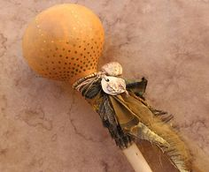 Painted Shaman Rattle + Desert Creosote and Ocotillo + Ritual + Ceremony + OOAK + Artisan + Olive Green + Shamanic Journey + Space Clearing