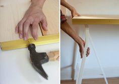 Easy DIY Project: IKEA Legs + Carpet Trim = Elegant Desk Camille Styles | Apartment Therapy