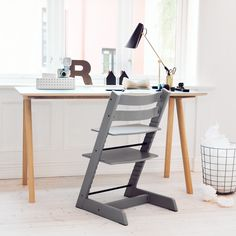 Stokke Tripp Trapp chair in Storm Grey –The chair that goes from mashed carrots to college!