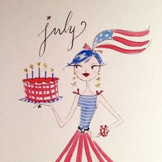 by Anne Keenan Higgins Cute Illustration, Watercolor Illustration, Bullet Art, Happy July, Calendar Girls, Girl Sketch, Fourth Of July, July 1, Months In A Year