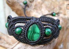 Natural Malachite Gemstone Micro Macrame Bracelet Hand Made