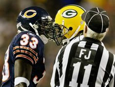 Sept. 29, 2003 - Packers CB Michael Hawthorne goes face-to-face with Bears CB Charles Tillman during an altercation in the second quarter as the field judge comes in to break it up on Monday Night Football, Sept. 29, 2003, at Soldier Field in Chicago. The Packers won big, 38-23. The first two players in NFL history to get ejected were a Bears player and a Packers player for fighting, in 1924.