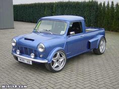 Classic MINI Truck - It is a blue custom made Clasic mini cooper truck.