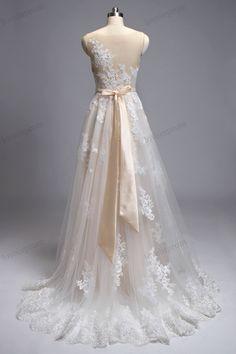 Vintage Lace Wedding Dresses Handmade Sheer Mesh by loveinprom