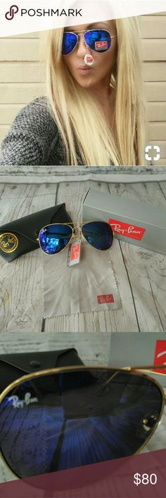 386e0564e8 Ray-Ban aviator blue with gold frame sunglasses Ray-Ban aviator blue with  gold
