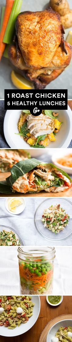 Brown bagging is no longer boring.  #chicken #lunch #recipes https://greatist.com/eat/easy-chicken-recipes-healthy-lunches-you-can-make-from-one-chicken