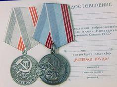 Vintage USSR Soviet Russian Russia Labor Veteran Medal w/ Document Order Badge Military Awards, Badge, Badges