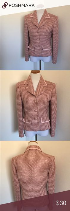 "Casual Corner Blazer Casual Corner Blazer.  Beautiful pink colors. Classic blazer. Buttons down the front. Size 8. Shoulder to shoulder 16"", shoulder to bottom 22"" & sleeve 24"". Casual Corner Jackets & Coats Blazers"