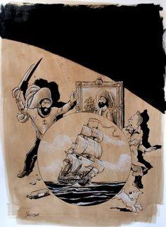 Hommage a herge / le secret de la licorne par Christophe Chabouté - Planche originale