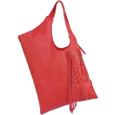RED LEATHER Tote Bag Large Leather Bag Shoulder Bag w/ Pretty Hand... ($210) ❤ liked on Polyvore featuring bags, handbags, shoulder bags, leather tote handbags, red shoulder bag, red leather tote bag, red tote and red leather tote