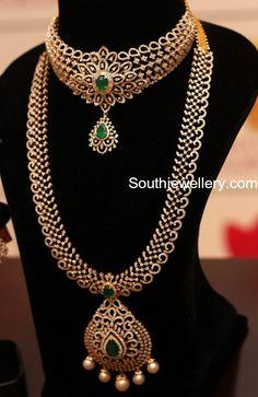 Diamond Choker and Long Chain Set photoDeepika dks Pinboard trails ~*~ Diamond Choker Necklace, Diamond Bracelets, Diamond Jewellery, Cartier Bracelet, Diamond Jhumkas, Fancy Jewellery, Earrings, Necklace Designs, Jewelry Design