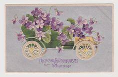 Ak, Glückwunsch Geburtstag, Oldtimer, Blumen, Prägekarte, Seitschen 1908   eBay