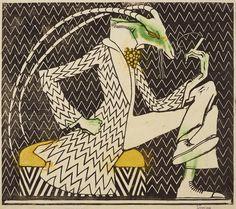 Ludwig Heinrich Jungnickel (1881–1965): Rauchender Ziegenbock. Entwurf für ein Secessionsplakat, 1910. Farbholzschnitt auf Papier, 45,5 × 49,3 cm; Leopold Museum, Wien, Inv. 1953