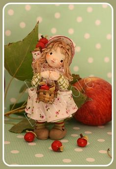 Dolci Bambole : It's time of red apples - little doll in cold porcelain