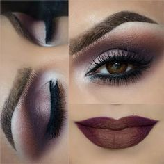 Brown Eye Makeup with Brown Lips Look