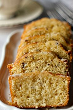 Lavender Tea Bread (3/4 c milk, 3 tbs fresh lavender, 6 tbs butter, 1 c sugar, 2 eggs, 2 c flour)