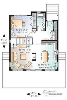 Rez-de-chaussée Plan de chalet rustique, vue panoramique, 3 chambres, 2 salles de bain, plafond cathédrale, foyer - Catalina 3