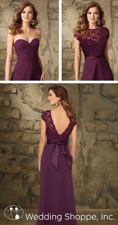Beautiful long chiffon bridesmaid dress with removable lace bateau jacket.