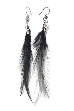 Raven skull earrings - black feathers by WinterberryJewelry