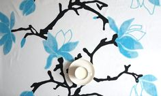 """Tablecloth white turquoise blue flowers black tree 37""""x56"""" or made to order your size, also curtains available, great GIFT"""