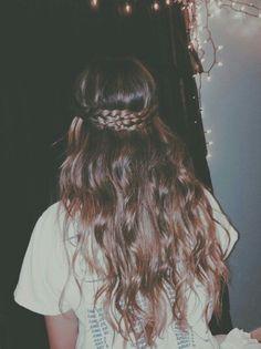 Long hair messy braided crown