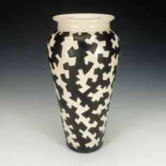 Black and White Zig Zag Puzzle Vessel I by Lance Timco. Ceramic Vase available at www.artfulhome.com