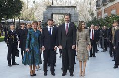 Hungarian President Janos Ader (2L), wife Anita Herczegh (L), King Felipe VI of Spain (2R) and Queen Letizia of Spain (R) attend 'Obras Maestras de Budapest. Del Reancimiento a las Vanguardias' exhibition at the Thyssen-Bornemisza Museum on February 17, 2017 in Madrid, Spain.