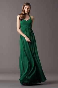 How chic is this emerald crinkle chiffon bridesmaid dress with sweetheart halter neckline?