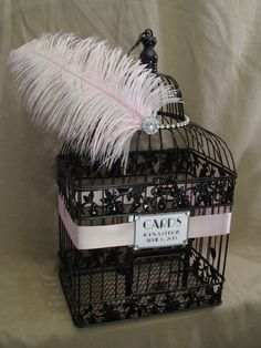 Glitzy Birdcage Wedding Card Box With by SouthburyTreasures