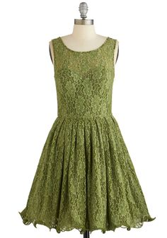 Cherished Celebration Dress in Olive. As you accompany the olive-green lace of this party dress - available for purchase in July - with eggshell heels, your heart flutters with expectations for your best friends bash. #green #prom #wedding #bridesmaid #modcloth