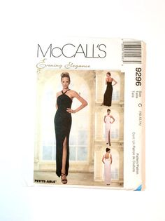 McCalls 9296 Evening Gown Pattern Wedding Gown Bridesmaids' Dress Prom Dress, Formal Wear Pattern by DonnaDesigned