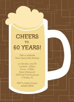 Brown Beers Cheers 60th Birthday Invite                                                                                                                                                                                 Plus